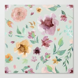 Seamless Florals Mint Background Canvas Print