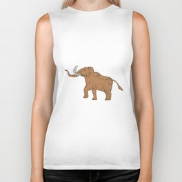Woolly Mammoth Prancing Drawing Biker Tank