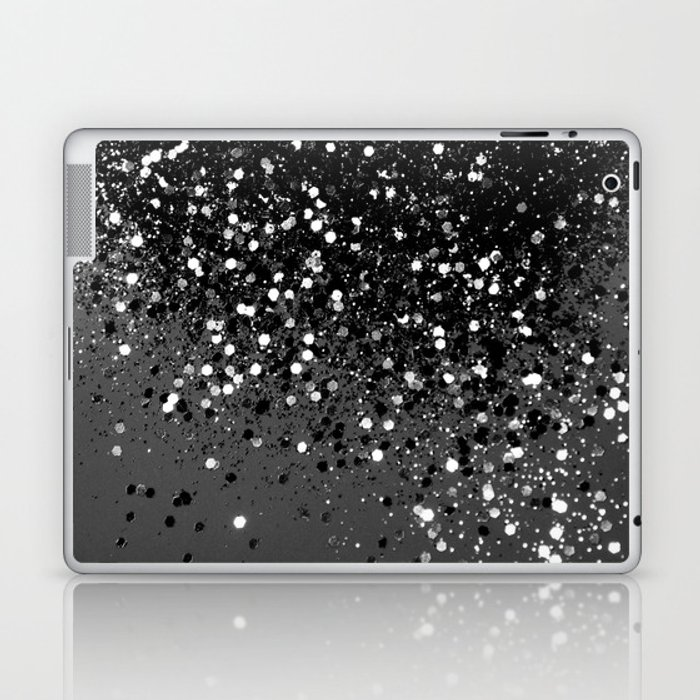 Dark Gray Black Lady Glitter #1 #shiny #decor #art #society6 Laptop & iPad Skin