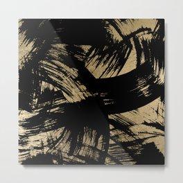 Elegant black faux gold modern brushstrokes pattern Metal Print
