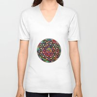 flower of life V-neck T-shirts featuring Flower of Life variation by Klara Acel