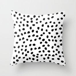 Black daps on white Throw Pillow