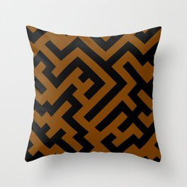 Black and Chocolate Brown Diagonal Labyrinth Throw Pillow