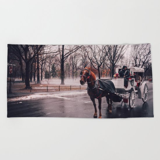 NYC Horse and Carriage Beach Towel