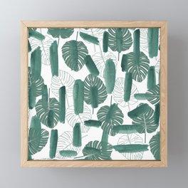 Modern green white watercolor tropical floral brushstrokes Framed Mini Art Print