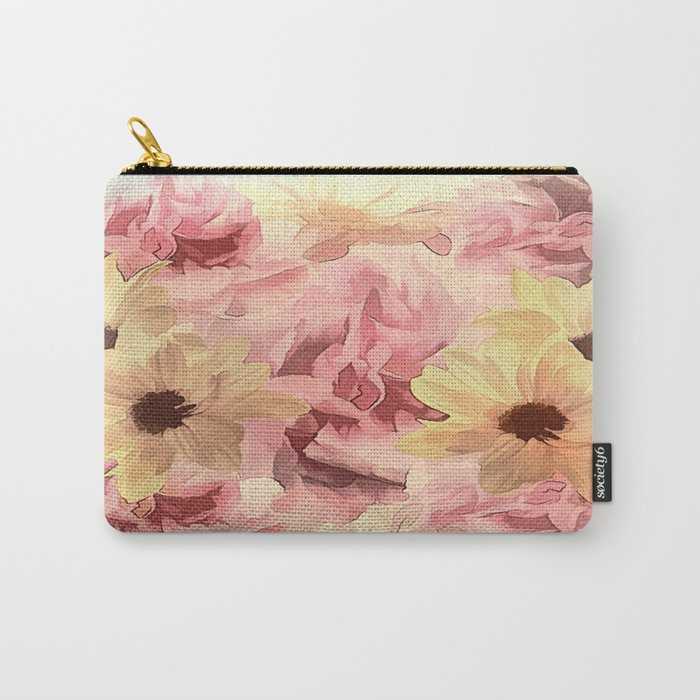 Soft Hazy Day Spring Floral Bouquet Carry-All Pouch