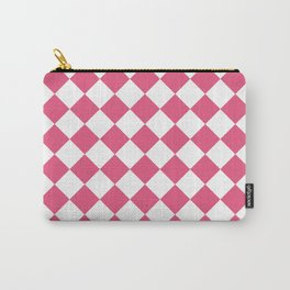 Diamonds - White and Dark Pink Carry-All Pouch