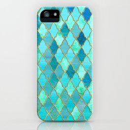 Aqua Teal Mint and Gold Oriental Moroccan Tile pattern iPhone Case