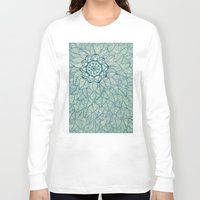 emerald Long Sleeve T-shirts featuring Emerald Green, Navy & Cream Floral & Leaf doodle by micklyn