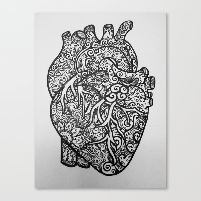 Anatomical Heart Zentangle Canvas Print By Isabellat Society6
