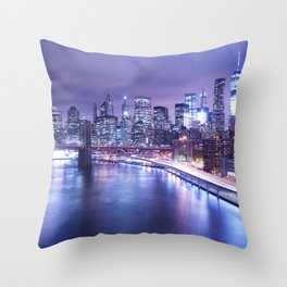 New York City Night Lights : Periwinkle Blue Throw Pillow