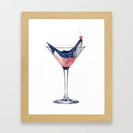 Whale Martini Framed Art Print