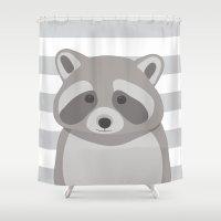 raccoon Shower Curtains featuring Raccoon by AleDan
