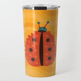 Orange Ladybug Autumn Leaf Travel Mug