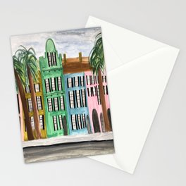 Rainbow Row Charleston South Carolina Watercolor Sketch Stationery Cards
