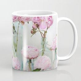 Peonies Cottage Aqua Pink Shabby Chic Watercolor Peony Prints Home Decor Coffee Mug