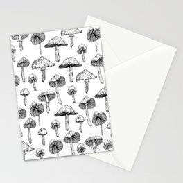 Black and white mushrooms Stationery Cards