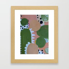 Abstrct Desert Greens Cactus Framed Art Print