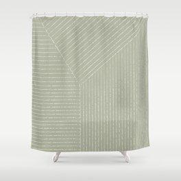 Lines (Linen Sage) Shower Curtain