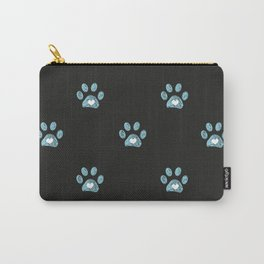 Cute blue doodle paw prints with hearts Carry-All Pouch
