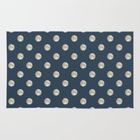 polka dot Area & Throw Rugs featuring Full Moon Polka Dot by Paula Belle Flores
