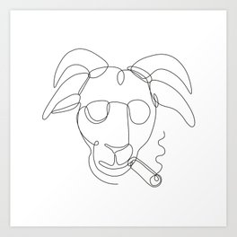 Billy Goat Wearing Sunglasses Cigar Continuous Line Art Print