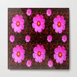 FUCHSIA PINK FLOWERS &  DARK ART Metal Print