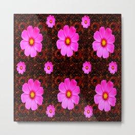 FUCHSIA PINK FLOWERS &  DARK ART Metal Print