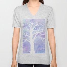 Watercolor Abstract winter oak tree purple background Unisex V-Neck