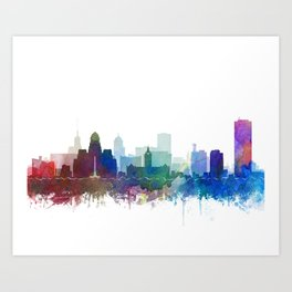 Buffalo Skyline Watercolor by Zouzounio Art Art Print