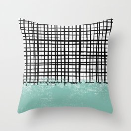 Mila - handpainted grid lines crosshatch weave with mint sage stripe minimalist nursery Throw Pillow