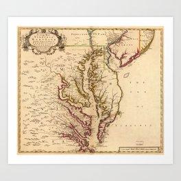 Vintage Map of The Chesapeake Bay (1719) Art Print