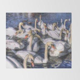 Swans Of Summer Throw Blanket