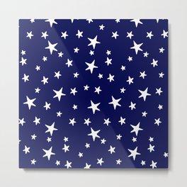 Stars - White on Navy Blue Metal Print
