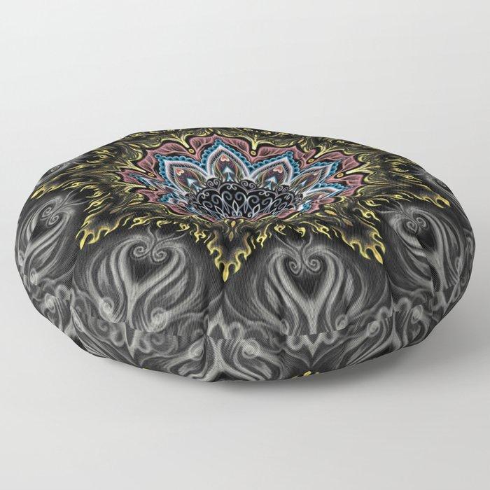 Burning Butterfly Mandala Floor Pillow