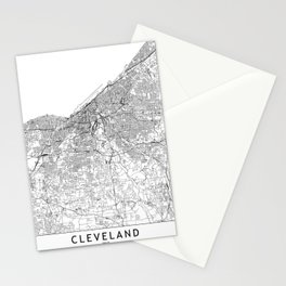 Cleveland White Map Stationery Cards