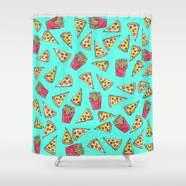 Pepperoni Pizza French Fries Foodie Watercolor Pattern Shower Curtain