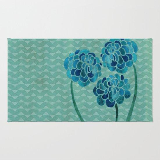 Blue Chrysanthemums Rug