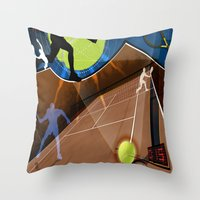 tennis Throw Pillows featuring Tennis by Robin Curtiss