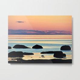Circle of Rocks and the Sea at Dusk Metal Print