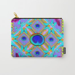 Purple Fantasy Turquoise Butterflies Morning Glories art Carry-All Pouch