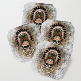Indian Native Owl Sugar Skull Coaster