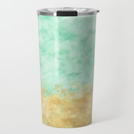 Pretty Mint Gold Glam Watercolor Travel Mug
