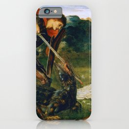 St George kills the dragon VI by Edward Burne-Jones. iPhone Case