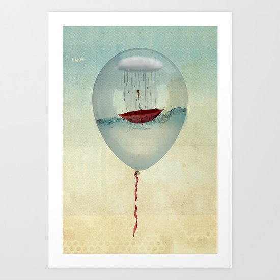 embracing the rain in a bubble Art Print
