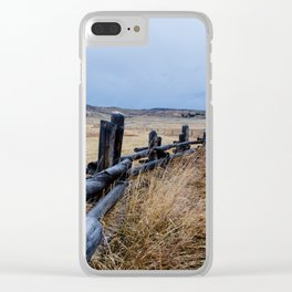 Wyoming Wooden Fence Line Clear iPhone Case