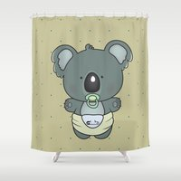 cartoons Shower Curtains featuring Baby koala by mangulica illustrations