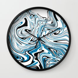 Abstract Black & Blue Topographic map Wall Clock