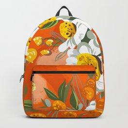 Orange Poppy Flowers Chinoiserie Backpack