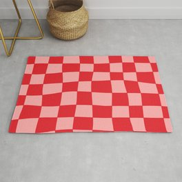Hand Drawn Checkerboard Pattern (red/pink) Rug